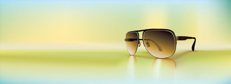 Retro sunglasses rendered using gradient meshes and regular gradients. Cool diffused light ambiance with inviting greens and blue shades.  Illustration