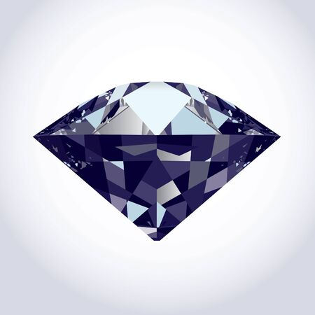 brilliant diamond on soft grey to white background.  Illustration