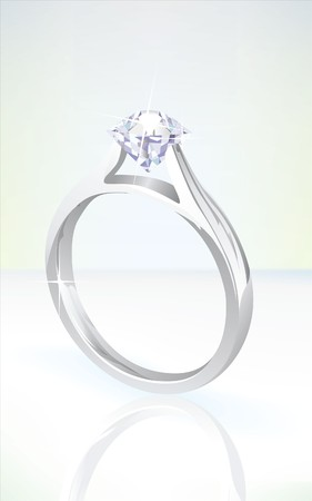 brilliant diamond engagement ring in white gold, set on a soft background with reflection