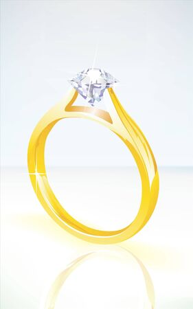 brilliant diamond engagement ring in yellow gold, set on a soft background with reflection Vector