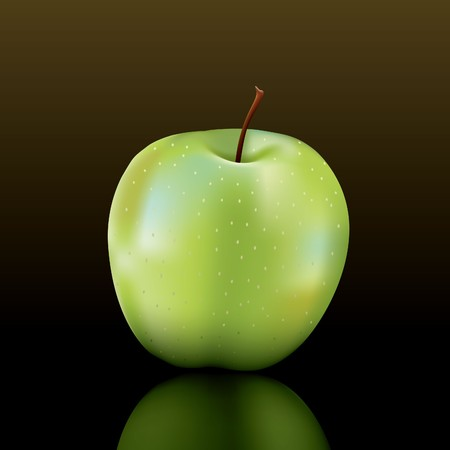 smith: granny smith apple on a dark shiny surface