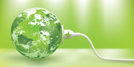 orbiting: abstract green energy concept with green Earth.   Illustration