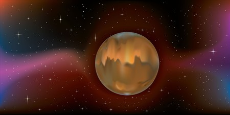 planet mars floating harmoniously through space, gradient mesh used throughout Illustration