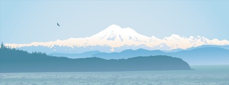 northwest: Mount Baker, Washington State, panoramic. Looking over the straight from Vancouver Island.  Illustration