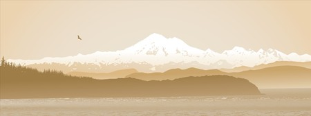 pacific northwest: Mount Baker, Washington State, panoramic in sepia. Looking over the straight from Vancouver Island.  Illustration