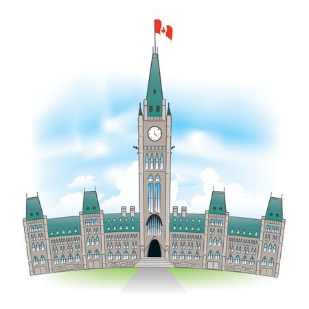 regierung: Sch�ne Portr�t des kanadischen Parlaments Geb�ude in Ottawa Kanada. Illustration