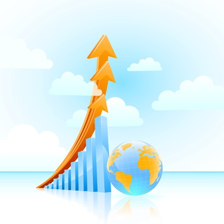 global business growth bar graph concept  Illustration