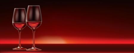 2 Copas de vino rojo sobre fondo rojo oscuro. Perfecto para un menú de restaurante vino o signo. Gran cantidad de espacio de copia disponible sobre el derecho de las gafas.  Ilustración de vector