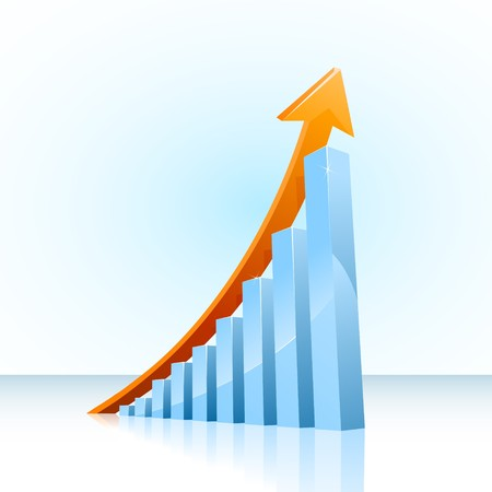 sales graph: glossy  bar graph showing continuous growth