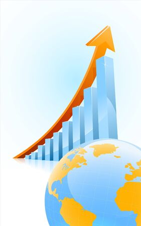 business growth bar graph with globe in front