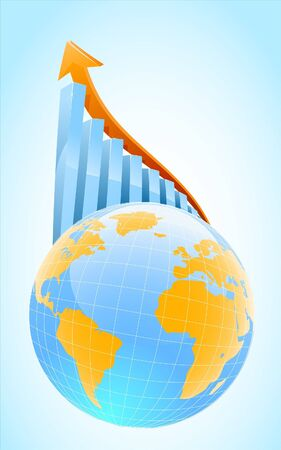 global business growth bar graph  Ilustração