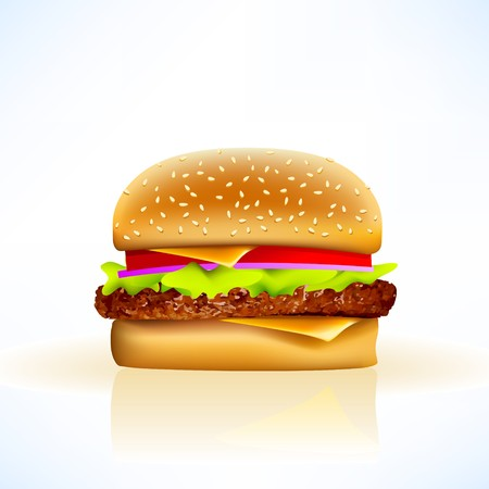 cheeseburger on soft background with all the trimmings