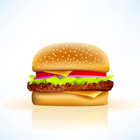 indulgere: cheeseburger su sfondo morbido con tutte le guarnizioni