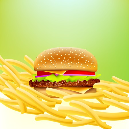 cheeseburger on a bed of fries with soft greeen background Vector