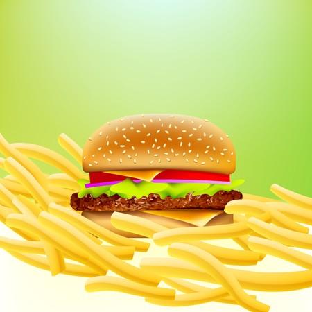 indulgere: cheeseburger su un letto di patate fritte con sfondo mordicchiare morbido