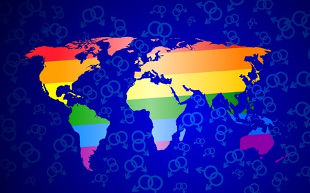 International gay pride concept.  world map with gay pride colors.