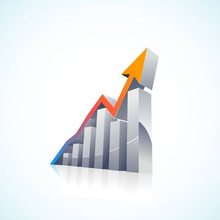 3d Stock Market Bar Graph with colorful growth arrow