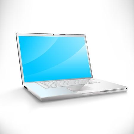 明るいブルー ・ スクリーン、柔らかい白い背景の上で現代のラップトップ