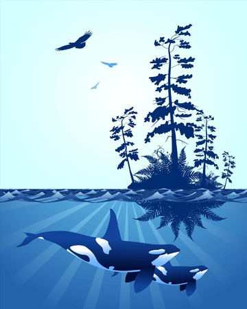 abstract Pacific Northwest ocean scene, with with windswept trees, eagles and killer whales