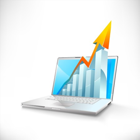 laptop with business or profits growth bar graph Çizim