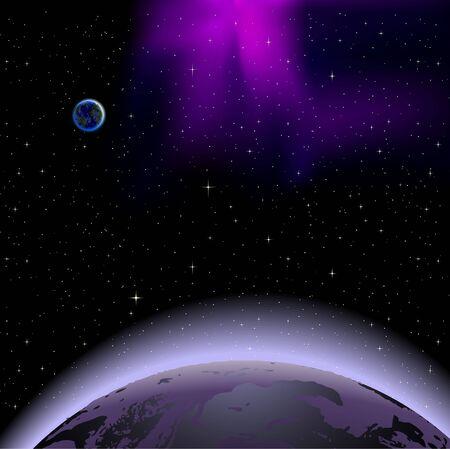 우주에서 행성의 일출