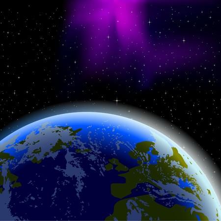 공간에서 지구의 지평선