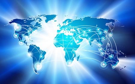 Vector wereldwijde netwerk verbinding concept. Kan gebruikt worden als reis-, communicatie-of netwerk-concept.