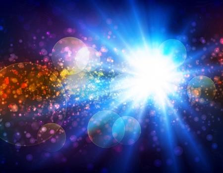 Fondo de la explosión de luz con un montón de partículas.