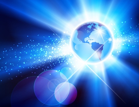 particle: Globe burst background showing North America and South America Illustration