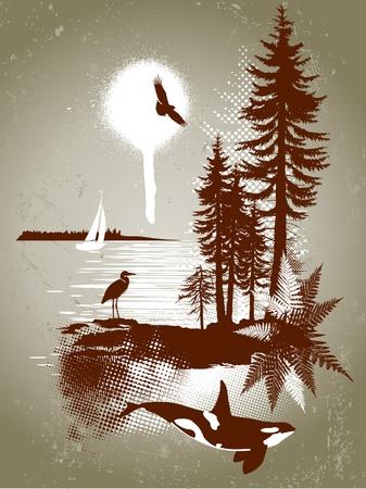 coniferous forest: West Coast detallada escena en el estilo graffity grunge