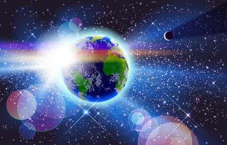 sonne mond: Wundersch�nen Planeten Erde, Sun & Moon In Space