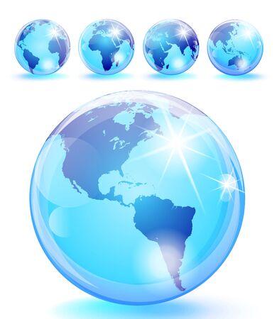 hemisphere: Set of 5 bright blue earth marbles.