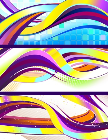 abstractions: Stylish flowing abstract banners. No transparencies used. Gradient mesh used. Illustration