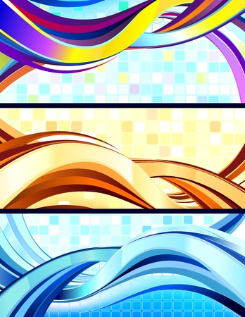 Stylish flowing abstract banners. No transparencies used. Gradient mesh used. Çizim