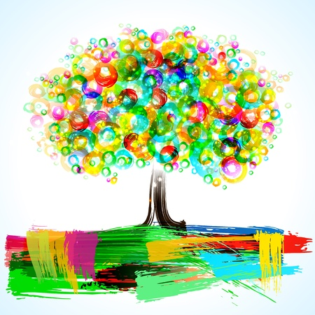 coloful: Abstract painterly tree. Eps 10 transparencies used on other than normal mode. Illustration