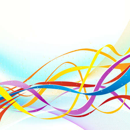 ribbons: Abstract colorful ribbons. No transparencies used. Gradient mesh used.