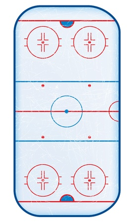 patins � glace: Vue du haut de transparents rink.No de hockey utilis�. D�grad� maillage utilis�. Illustration