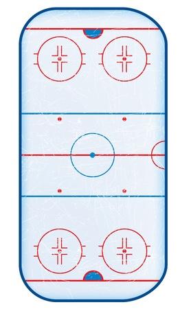 hokej na lodzie: Widok z góry na lodzie foliach rink.No używane. Gradient oczek. Ilustracja