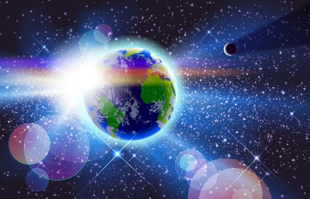 美しい惑星の地球、太陽 & 宇宙でムーン。通常モード以外で使用される Eps 10 透明。グラデーション メッシュを使用します。