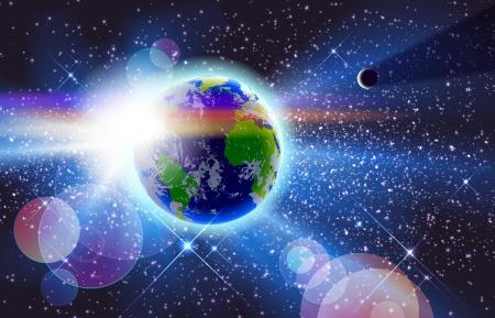 star and crescent: Hermoso planeta Tierra, el Sol y la Luna en el espacio. Eps 10 transparencias utilizadas en distinto modo normal. Gradiente de malla utilizada.