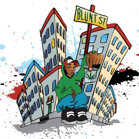 estereotipo: Ilustración de un hombre sentado con una bolsa de marihuana Vectores