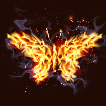yellow: Illustration of a butterfly made of fire