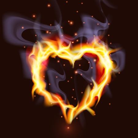 Ilustracja namiętnym koncepcji serca płonącego