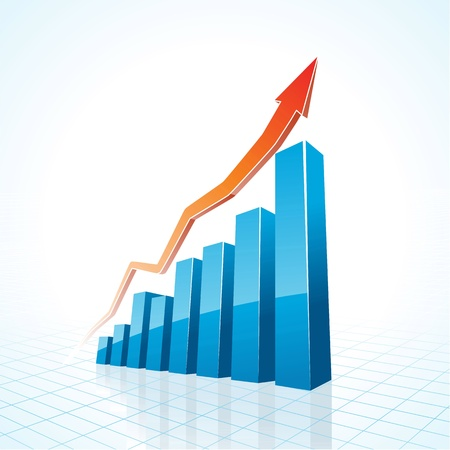 3d business growth bar graph illustration Vector