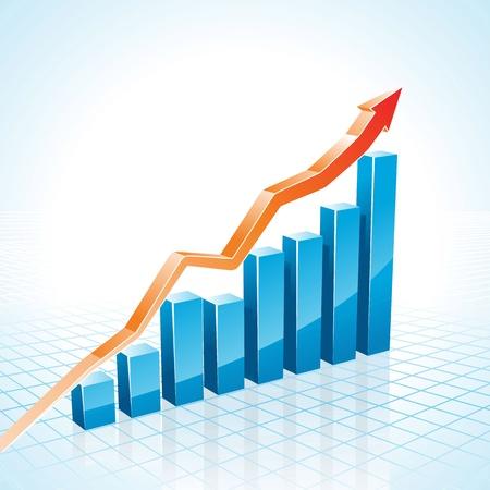 El crecimiento de negocios 3d gráfico de barras de la ilustración