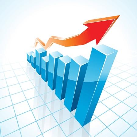 staaf diagram: 3d groei van de activiteiten staafdiagram illustratie Stock Illustratie