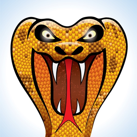 highly detailed and terrifying cobra head  Ilustracja
