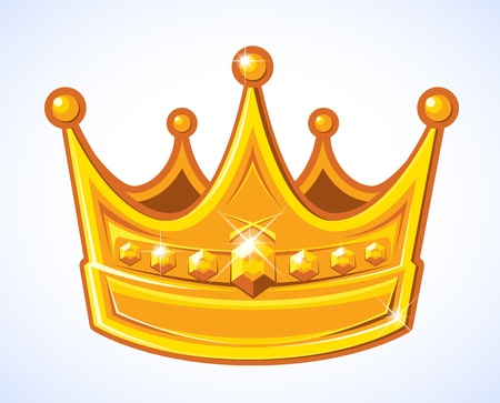 stylized fancy, sparkling, golden crown in raster format  Illustration