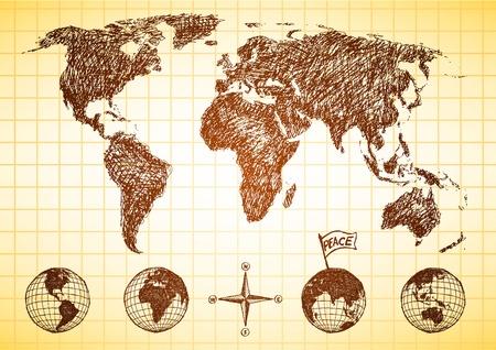 Doodle stijl kaart van de wereld met 4 uitzicht op de aardbol en kompas