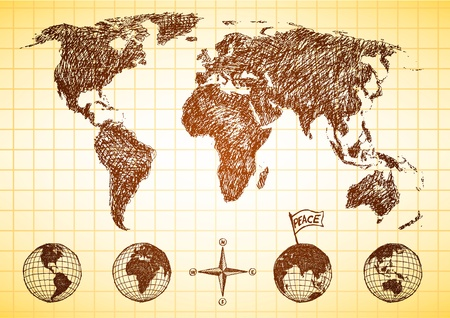 Doodle style world map with 4 views of the globe and compass  Vector